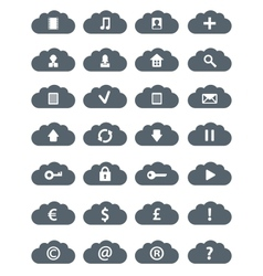 Simple flat clouds icon set vector