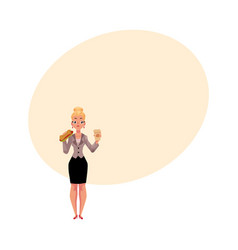 young blond businesswoman eating sandwich holding vector image
