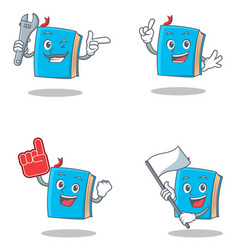 set of blue book character with mechanic foam vector image