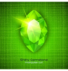 Shiny emerald on textured background vector