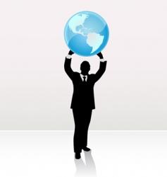 businessman lifting world vector image