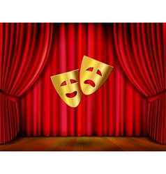golden masks and red curtain vector image