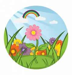Field of flowers vector