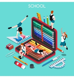 School set 03 people isometric vector