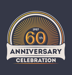60th years anniversary celebration sticker vector image vector image