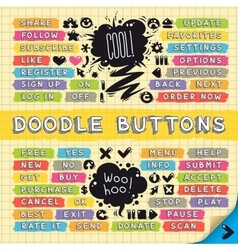 Hand drawn sketchy doodle buttons set vector