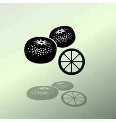 Mandarin fruits icon black silhouette with shadow vector