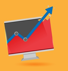 Monitor graph stock market up vector
