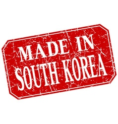 Made in south korea red square grunge stamp vector