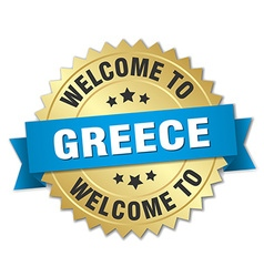 Greece 3d gold badge with blue ribbon vector