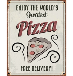 Retro vintage pizza tin sign vector
