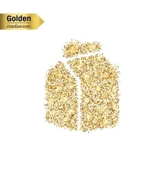 Gold glitter icon of the milk carton vector