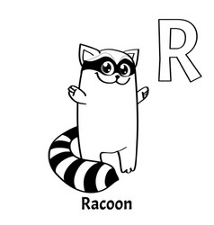 alphabet letter r coloring page raccoon vector image