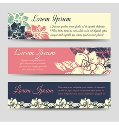 Boho floral banners design set vector image vector image