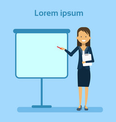 businesswoman pointing to empty white board vector image