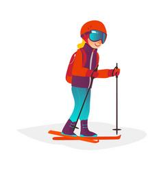 cartoon boy skiing in goggles isolated vector image vector image