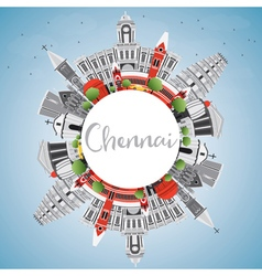 Chennai skyline with gray landmarks blue sky vector