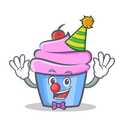 Clown cupcake character cartoon style vector