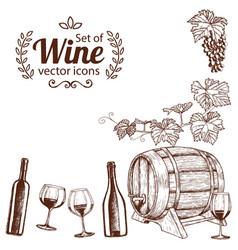 corner frame of sketch wine icons vector image