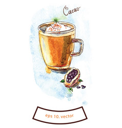 Cup of cacao hot chocolate vector