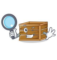 Detective crate character cartoon style vector