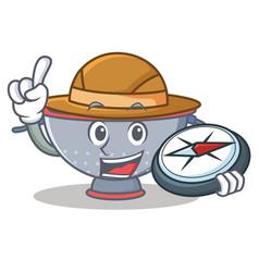 Explorer colander utensil character cartoon vector