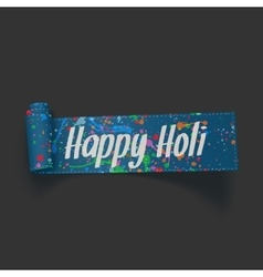 Happy holi realistic blue scroll textile ribbon vector