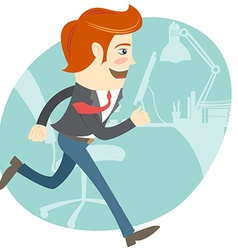 Hipster funny office worker running vector image