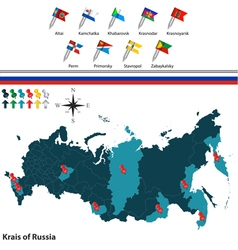 Krais of russia with flags vector
