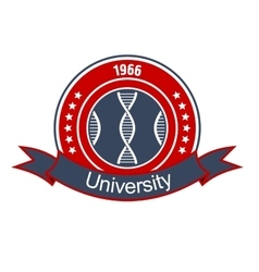 Medical university heraldic insignia with DNA vector image vector image