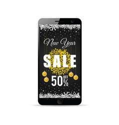 Mobile phone with new year sale gold on it vector