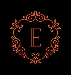 Monogram template logo design line style vector