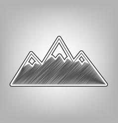 Mountain sign pencil sketch vector