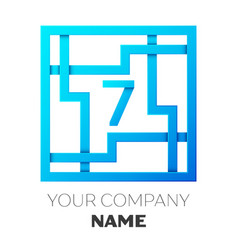 Number seven logo in colorful square maze vector