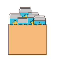 Paper bag with canned beers in watercolor vector