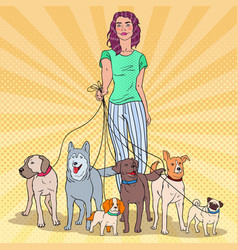 Pop art woman walking with many dogs vector