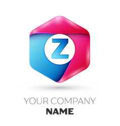 realistic letter z in colorful hexagonal vector image vector image