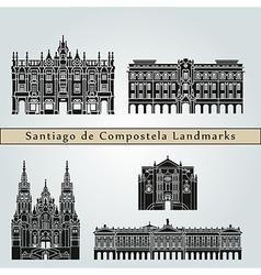 Santiago de compostela landmarks and monuments vector
