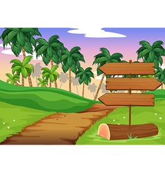 Scene with wooden signs in the field vector image vector image