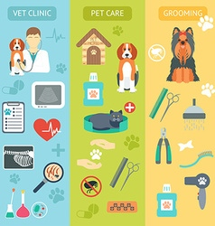 Set of vertical banners Pet care Vet clinic vector image