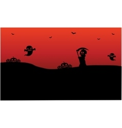 Silhouette of Halloween warlock ghost pumpkins vector image vector image