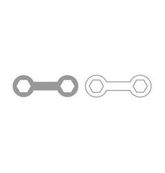 Spanner icon grey set vector