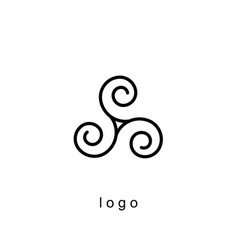 triple spiral logo template vector image vector image
