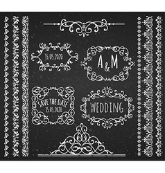Vintage frames scroll elements and borders vector