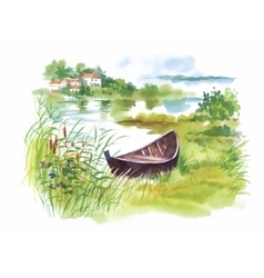 Watercolor rural landscape with boat vector