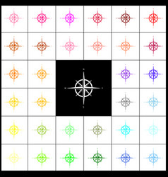 Wind rose sign felt-pen 33 colorful icons vector
