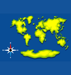 Worldmap with green land and blue ocean vector