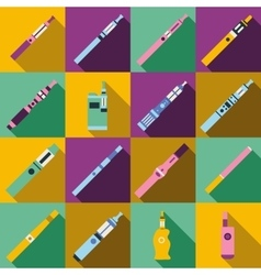 Vaping icons set flat style vector image
