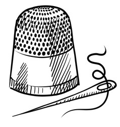 Doodle thimble needle thread vector