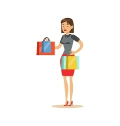 Woman With Clothing Outlet Bags Shopping In vector image